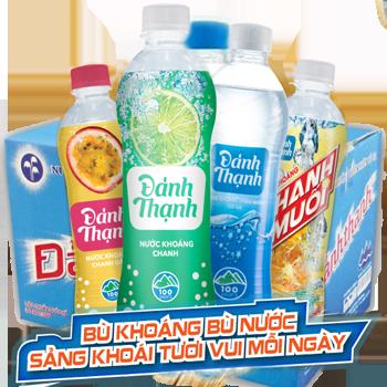 Đảnh Thạnh nước khoáng chai nhựa có ga Lạt, Ngọt (24 chai/ Thùng)